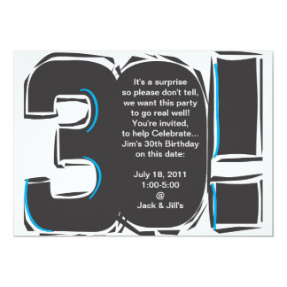 30o O aniversário simples convida Convite 12.7 X 17.78cm