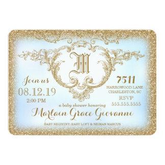 311 chás do bebé do monograma do brilho do ouro convite 12.7 x 17.78cm