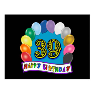 39th arco feliz do balão do aniversário cartão postal
