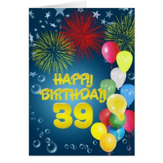 39th Cartão de aniversário com fogos-de-artifício