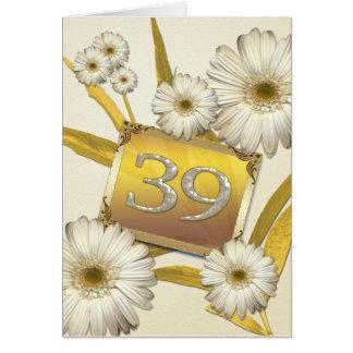 39th Cartão de aniversário com margaridas