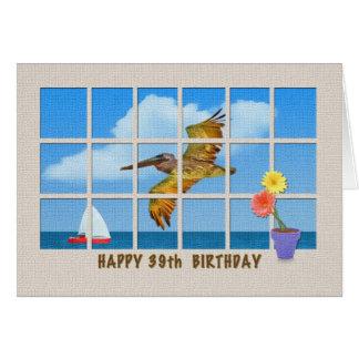 39th Cartão de aniversário com pelicano e flores