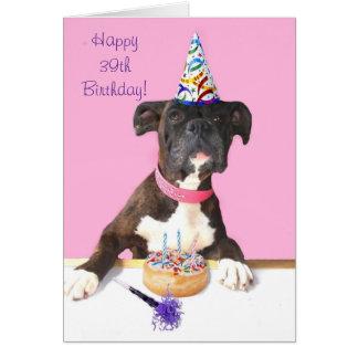 39th cartão feliz do cão do pugilista do