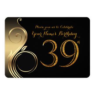 39th, convite do aniversário, ouro do brilho do