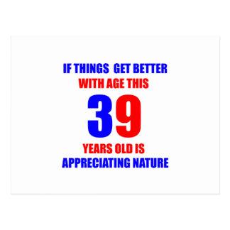 39th Design do aniversário Cartão Postal