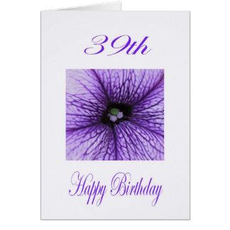 39th flor feliz do roxo do aniversário cartão