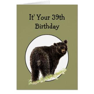 39th Urso preto do divertimento do aniversário - Cartão