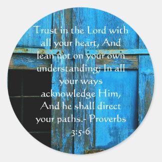 3:5 inspirado dos provérbio das citações da bíblia adesivo em formato redondo