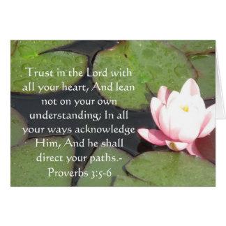 3:5 inspirado dos provérbio das citações da bíblia cartão comemorativo