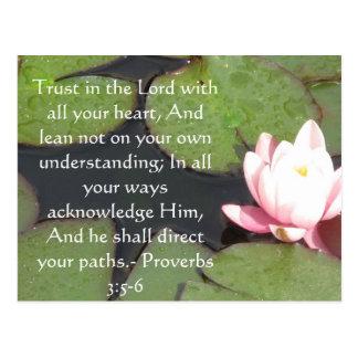 3:5 inspirado dos provérbio das citações da bíblia cartão postal