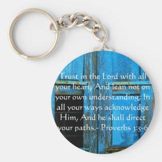3:5 inspirado dos provérbio das citações da bíblia chaveiro