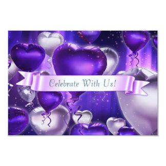 """3,5"""" x 5"""" convite customizável do coração do balão"""