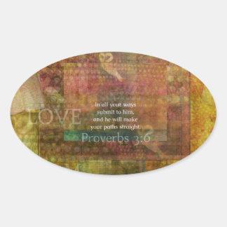 3:6 dos provérbio: Verso inspirado da bíblia Adesivo Oval