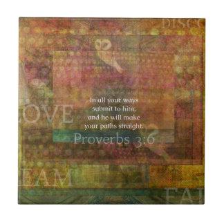 3:6 dos provérbio: Verso inspirado da bíblia Azulejo Quadrado Pequeno
