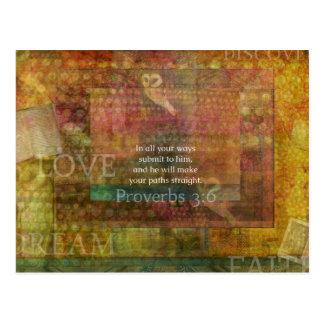3:6 dos provérbio: Verso inspirado da bíblia Cartão Postal