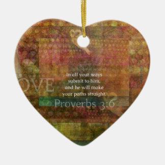 3:6 dos provérbio: Verso inspirado da bíblia Ornamento De Cerâmica Coração