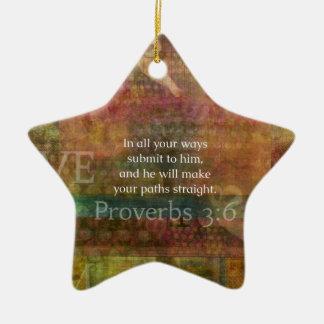 3:6 dos provérbio: Verso inspirado da bíblia Ornamento De Cerâmica Estrela
