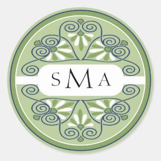 3 etiquetas do monograma das iniciais: Verde