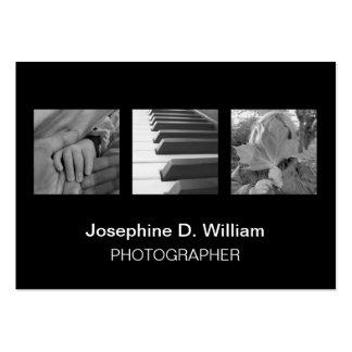 3 fotos de tamanho grande ou chique moderno branco cartão de visita grande