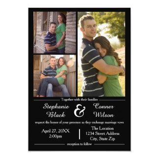 3 fotos enegrecem - o convite do casamento