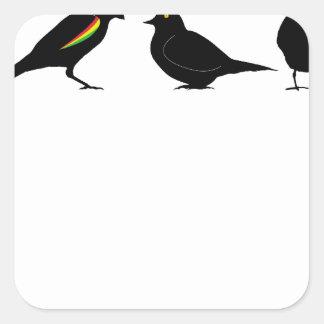 3 pássaros pequenos pelo erndub adesivo quadrado