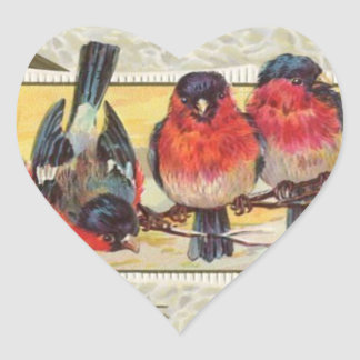 3 robins adesivo coração
