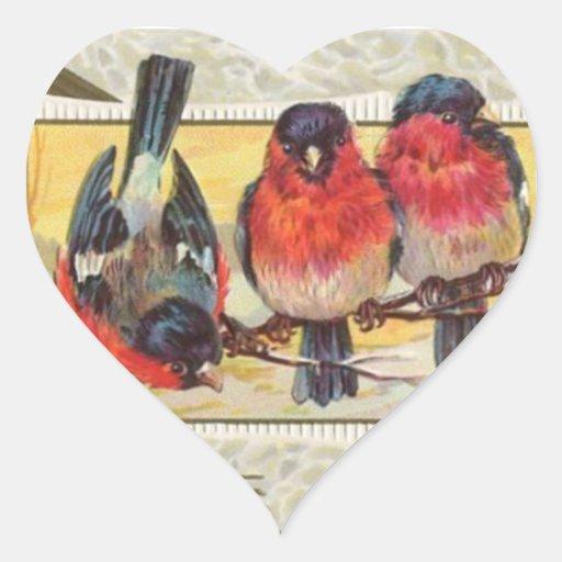 3 robins adesivo de coração