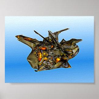3D-Objekt SCIFI abstracta de cores Poster