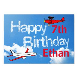 3x5Airplanes no céu - convite do aniversário dos