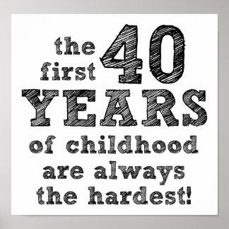 40 anos de poster engraçado da infância