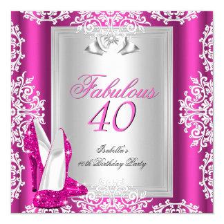 40 calçados fabulosos do rosa quente de partido de convite quadrado 13.35 x 13.35cm