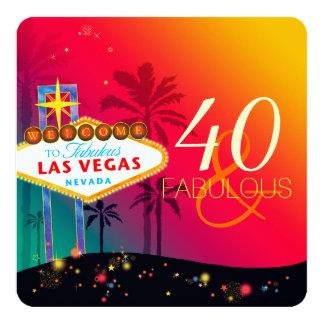 40 & festa de aniversário fabulosa de Las Vegas Convite Quadrado 13.35 X 13.35cm
