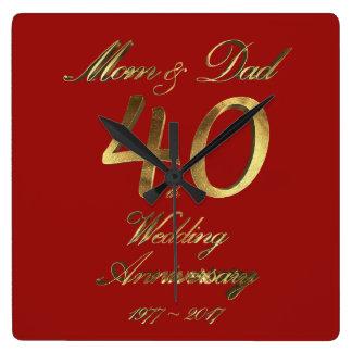 40th Pais do casamento do rubi do aniversário de Relógio Quadrado