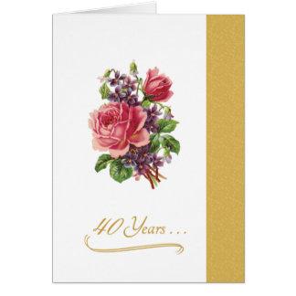 40th Rosas cor-de-rosa românticos do aniversário Cartão Comemorativo