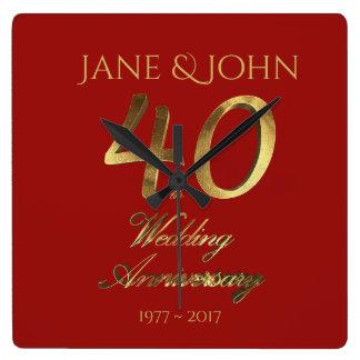 40th Rubi do aniversário de casamento que Wedding Relógio Quadrado