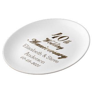 40th Tipografia do aniversário de casamento do Pratos De Porcelana
