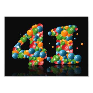 41st Festa de aniversário, com bolhas e bolas Convite 12.7 X 17.78cm