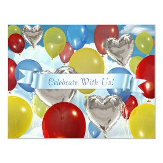 "4,25"" x 5,5"" céu Balloons convites customizáveis"