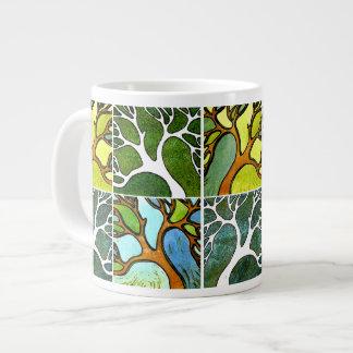 4 árvores cinzeladas mão na aguarela e a caneta &  jumbo mug