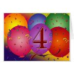 4o Balões da festa de aniversário Cartao