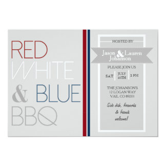 4o branco e azul vermelho moderno do CHURRASCO | Convite 12.7 X 17.78cm
