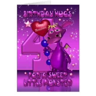 4o Cartão de aniversário com o monstro roxo bonito