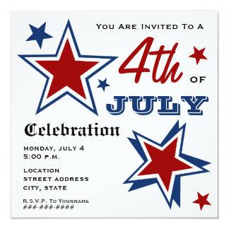 4o da bandeira americana & de estrelas patrióticas convite quadrado 13.35 x 13.35cm