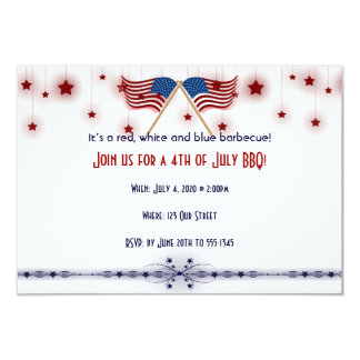 4o de bandeiras e de estrelas patrióticas de julho convite 8.89 x 12.7cm