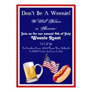 4o de convites do assado de Weenie de julho
