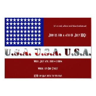 4o do gráfico moderno da bandeira de julho EUA Convite 8.89 X 12.7cm
