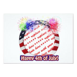 4o do quadro do círculo da bandeira americana de convites personalizados