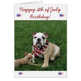 4o feliz do cartão do buldogue do aniversário de