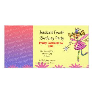 4o partido da menina do aniversário fada da princ cartao com foto personalizado