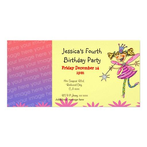 4o partido da menina do aniversário (fada da princ cartao com foto personalizado